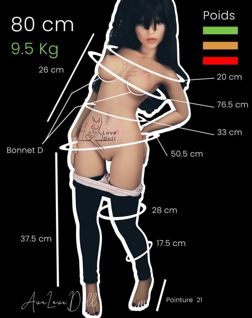 Mensurations-Poupée-TPE-Mini-Phoebe-Elf-Piper-Doll-80-cm-Bonnet-D